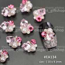 3D Nail Art Tips Jewelry Decoration Pink Cube Pearl Glitter Rhinestones  #EA_134