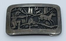 Verden Mansfield Native American, Hopi Sterling silver belt buckle Deer hunting