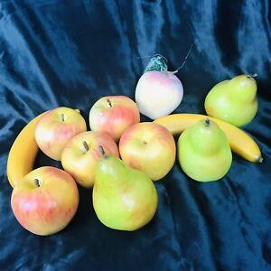 Artificial Fruit Faux Fake Food Display Lot 11 pc 3 Apples Pears Bananas