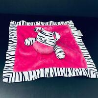 Tender Kisses Zebra Baby Lovey Security Blanket Pink w/Black White Trim Satin