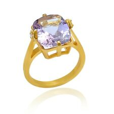 Amethyst Solitaire Ring Yellow Gold Plated 925 Sterling Silver Pave Diamond Ring