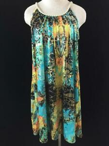 Shoreline summer dress size L XL beach cover up shoulder stretch casual sundress