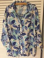 JM COLLECTION Women's Sz 18 100% LINEN Blouse Shirt Top Blue Floral 3/4 Sleeves