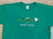 Irish Yoga Drunk Poses T-Shirt Mens L Passed Out Funny Humor Drinking Exercise