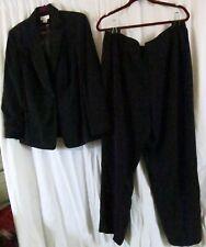 Worthington Pant Suit 16W Jacket 20W Pants Strip Multi Color Black