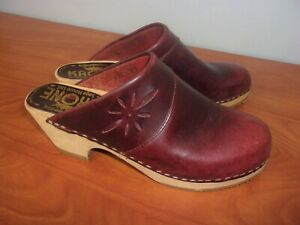 Krone Saga House Ltd Leather Clogs Shoes 40 Womens ~NEW~ Denmark