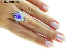 TURKISH JEWELRY UNIQUE WHITE GOLD PLATED 925 STERLING AMETHYST RING SIZE 8 R2095