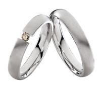 2 Eheringe Trauringe mit echtem Diamant Verlobungsringe aus Edelstahl ELB6