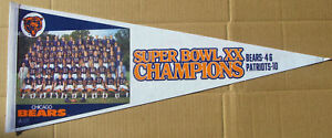 1986 Chicago Bears Super Bowl XX Team Photo Pennant
