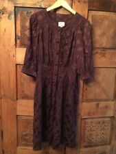 Milly Sz 2 Brown Pattern Silk Buttons Dress See Measurements