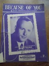 VINTAGE 1940 PIANOFORTE SPARTITO & PAROLE a causa di te da Jimmy Young