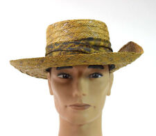 Vtg CHURCHILL LUBBOCK Brown Western Straw Panama Raffia Wide Brim Hat Mens XS