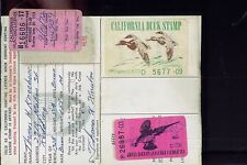 CALIFORNIA DUCK STAMP RW39 + CA #2 (used) On 1972 Hunting/ Fishing License  - 03