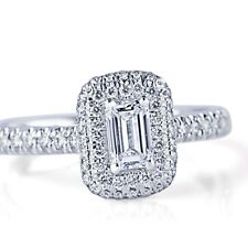 0.91 Ct F-VVS1 Natural Emerald Cut Diamond Engagement Halo Ring 14k White Gold