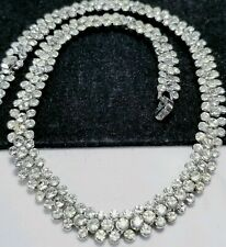 Vintage Silver Crown Trifari Bridal Collar Rhinestone Necklace