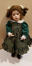 "20"" PORCELAIN DOLL CURLY BROWN HAIR BY NORMA HUNT"