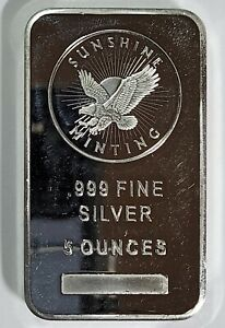 5 oz. Sunshine Minting Silver Bar Ingot .999 Fine w/Security Mint Mark