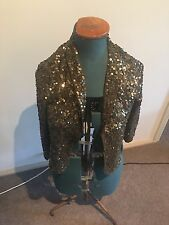 Portmans Sequin Evening Cocktail Military Green Jacket / Size Medium / Size 12