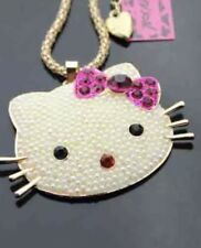 Betsey Johnson Necklace Hello Kitty Face Pearl Gold Crystal