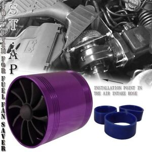 "2.5"" Cold/Air Intake Short Ram/Turbo Supercharger Gas Fuel Saver Dual Fan Purple"
