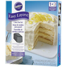 Wilton 4Pc Easy Layers 6x6 Inch Square Cake Baking Tin Oven Pan Icing Decorating