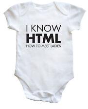 I know HTML programmer baby bodysuit (short sleeve) grow boys girls