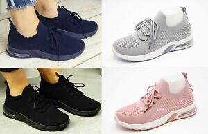 Ladies Womens Shock Absorbing Running Trainers Gym Sports Comfy Lace Up Shoes