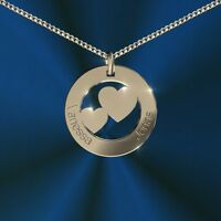 Anhänger rund mit 2 Herzen, Inkl. Gravur, Silber 925, , Namenskette, Initiale