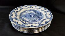 """English Ironstone Plates """"Wakehurst Place Sussex"""" ~ Blue on White (6) 8"""""""