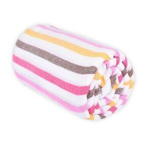 NWT - LAS BAYADAS 'LA MONSE' Pink/Brown/White/Yellow BEACH BLANKET - 80X80