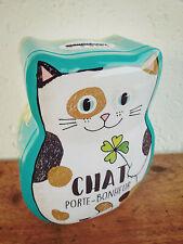 Jolie tirelire chat en métal  Chat porte bonheur  15,5x11,5cm cadeau,déco maison
