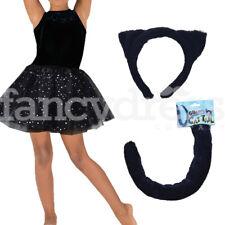 Girls Black Cat Dress Up Set Fancy Dress Animal Costume Book Week Tutu Tail Ears