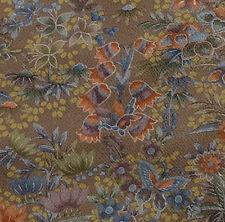 Japanese vintage kimono silk fabric Butterflies and Kiri Flower