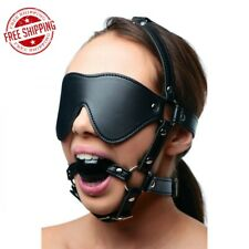 Strict Blindfold Harness Ball Gag Mask Bondage Faux Leather Muzzle Role Play
