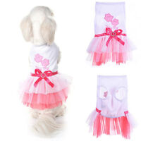 Pet Dog Bow Tutu Dress Lace Skirt Puppy Princess Costume Apparel Clothes XS-L
