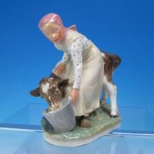 Royal Copenhagen Denmark - Milkmaid Girl Feeding Cow or Calf Figurine #779