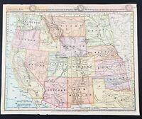 1884 Western States Map Dakota Colorado Arizona Idaho Texas Oregon Montana