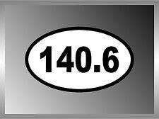 "Ironman Triathlon 140.6 Vinyl Euro Decal Bumper Sticker      2.5"""