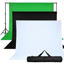10x10ft Photography Black+White+Green Backdrop Background Photo Stand Muslin Kit