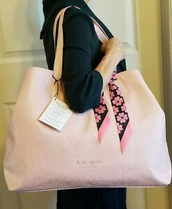 Kate Spade New York Pink Extra Large Tote Bag Carryall Shopping WITHOUT Scarf