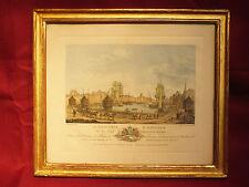 Sehr schöner vergoldeter Rahmen , ca 200 Jahre alt , colorierte Hafenscene Stich
