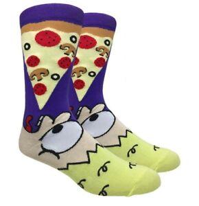 EAT PIZZA Mens Novelty Socks Purple Fine Fit - NWT