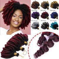 Ombre Jumpy Wand Curl Crochet Hair Braids Extensions Twist Braiding Full Head US