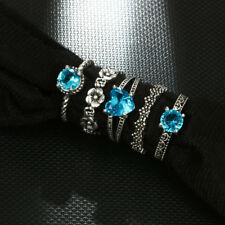 AU_ 5Pcs Retro Boho Hollow Flower Heart Blue Rhinestone Women Finger Rings Dream