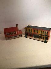 Lot 2 HO Scale Vintage Cardboard Kit MadeBuildings  - Nice! Model Train