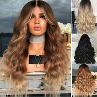"28""Mesdames Ombre Blonde Longues Bouclées Perruques Cosplay Naturelle Cheveux CP"
