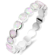Pink Fire Opal Round Eternity Fashion Sterling Silver Band Ring