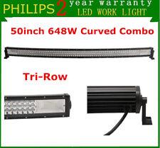 7D Tri-Row 50'' 648W Curved S&F LED Work Light Bar Slim Driving SUV JEEP Truck