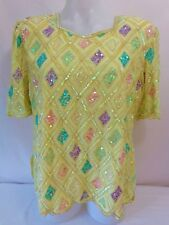 Size 16 Beaded Sequined Yellow Evening Top KRAFTMEN'S Pink Purple Made in INDIA