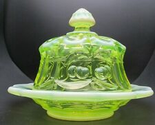Mosser Glass Vaseline Opalescent Cherry & Cable Pattern Butter Dish Finial Lid